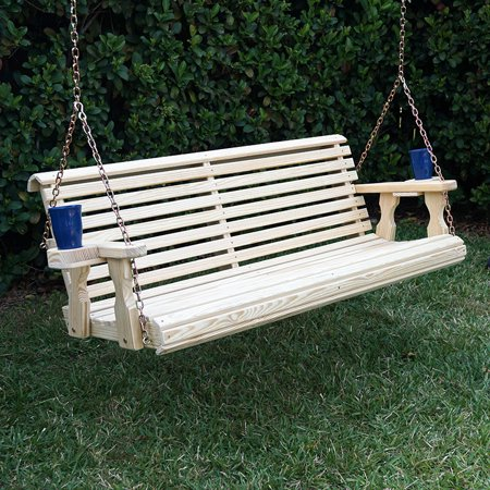 Amish Heavy Duty 800 Lb Roll Back Treated Porch Swing with Hanging Chains and Cupholders (4 Foot, - Unfinished Swing