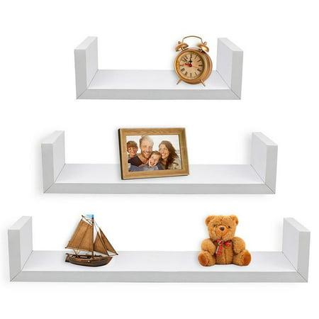 Tria 3 Shelf Wall (Greenco Set of 3 Floating U Shelves, White Finish )