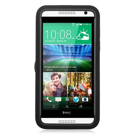 Insten Wave Symbiosis Soft Dual Layer Rubber Hard Cover Case w/stand For HTC Desire 610 - Black - image 2 of 3