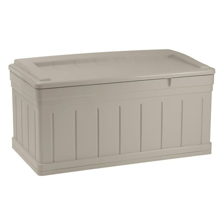 Suncast 129 Gallon Deck Box With Seat, Light Taupe,