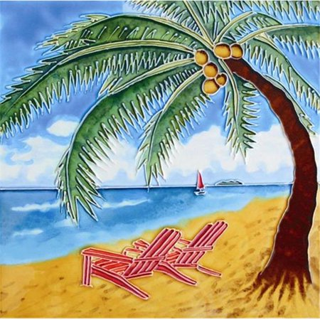 - En Vogue B-127 Palm Tree and Beach Chairs - Decorative Ceramic Art Tile - 8 in. x 8 in.