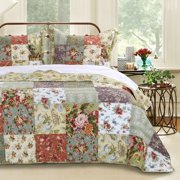 Global Trends Reversible Carmel 3 Piece Full/Queen Quilt & Sham Bedding Set