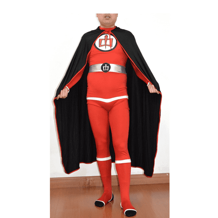 Greatest American Hero Adult Costume And Cape Body Suit Spandex Superhero 80s TV - Red Super Hero Cape