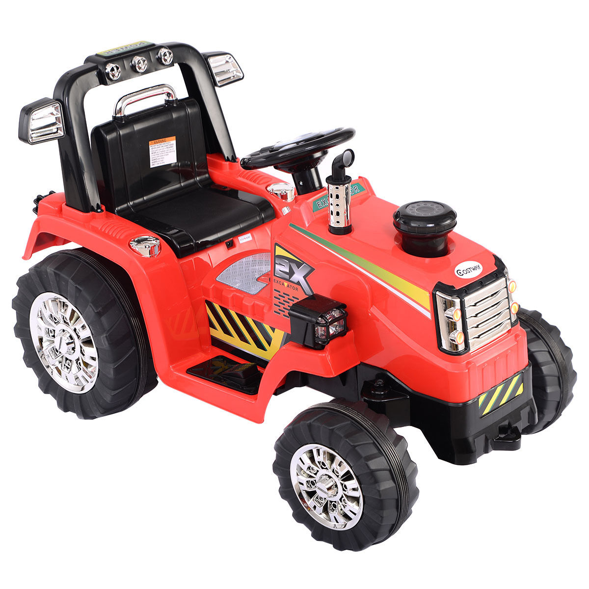 Costway 12V Battery Powered Kids Ride On Tractor Electric Toys w  MP3 LED Lights Red by Costway