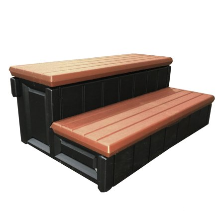 Confer Plastics 36 Inch Resin Spa and Hot Tub Storage Compartment Steps, Redwood