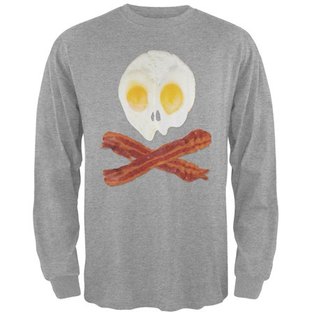 He Man Gray Skull - Eggs And Bacon Skull And Cross Bones Grey Adult Long Sleeve T-Shirt