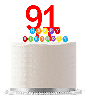 Item#091WCD - Happy 91st Birthday Party Red Cake Topper & Rainbow Candle Stand Elegant Cake Decoration Topper Kit