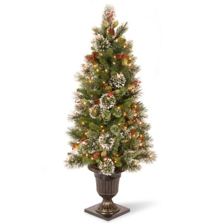 4' Pre-lit Potted Wintry Pine Entrance Artificial Christmas Tree – Clear Lights - Walmart.com