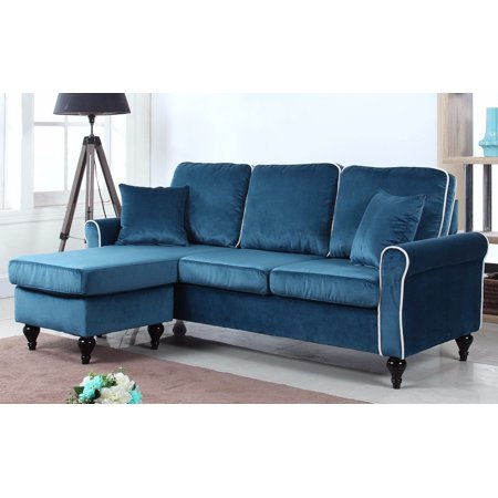 Traditional Small Space Velvet Sectional Sofa With