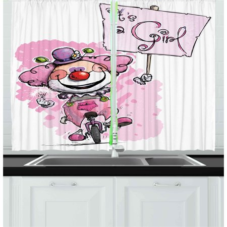 Gender Reveal Curtains 2 Panels Set, Artistic Clown on a Unicycle ...