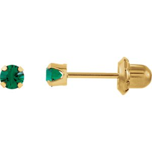 Jewels By Lux Set 14K Yellow Gold Imitation Emerald Polished Inverness Birthstone Piercing (Gold Emerald Stone Set)