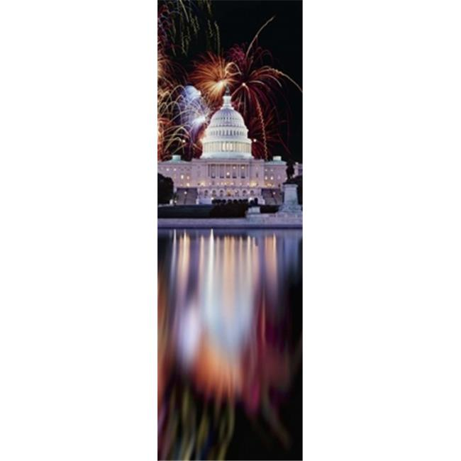 Panoramic Images PPI137298L Firework display over a government building at night  Capitol Building  Capitol Hill  Washington DC  USA Poster Print by Panoramic Images - 12 x 36