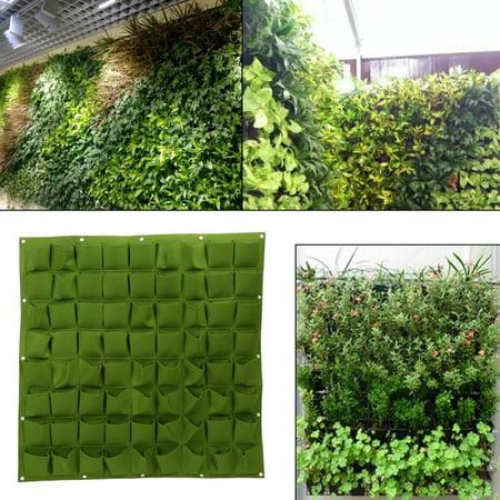 Felt Planter Bags, Planter Bags,72 Pockets Hanging Garden Planting Bag Wall Vertical Greening Outdoor Plant (Green Vertical Vases)