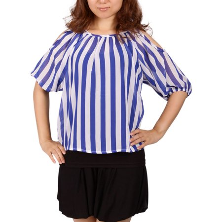 Fashion Women Summer Short Sleeve Stripe Shirt Casual Blouse Loose Top T Shirt
