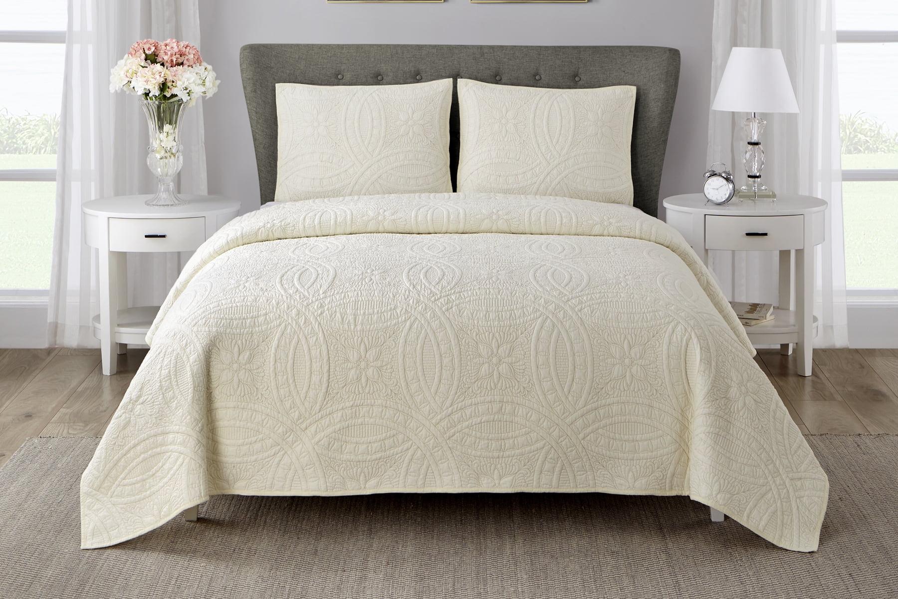 Wonder Home Martha 3PC Cotton Solid Quilt Set, Queen, White by SD Wonder
