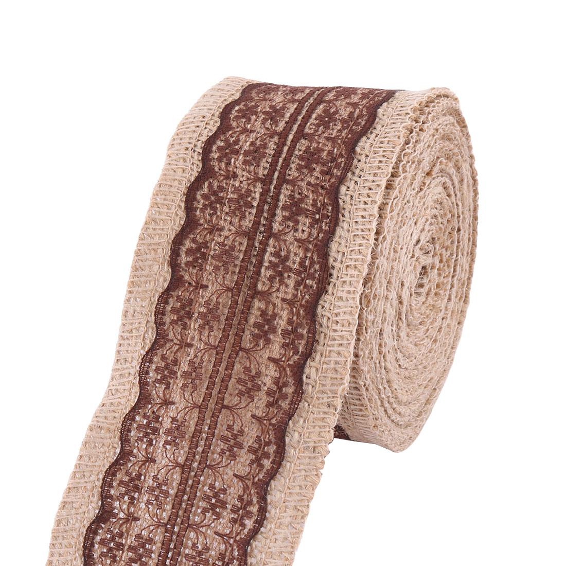 Birthday Linen Skirt Cake Box Decor Sewing Ribbon Roll Coffee Color 5.6 Yards