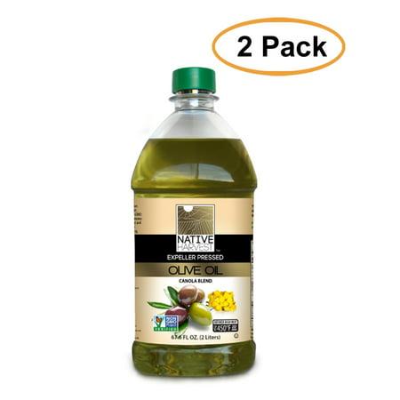 Native Harvest Expeller Pressed Non-GMO Olive/Canola Oil Blend, 2 Liters (67.6 FL OZ), 2 Pack
