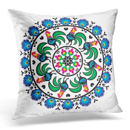 ARHOME Colorful Floral Polish Traditional Folk Pattern in Circle with Roosters Wzory Lowickie Wycinanka European Pillow Case Pillow Cover 20x20 (Polished Rooster)
