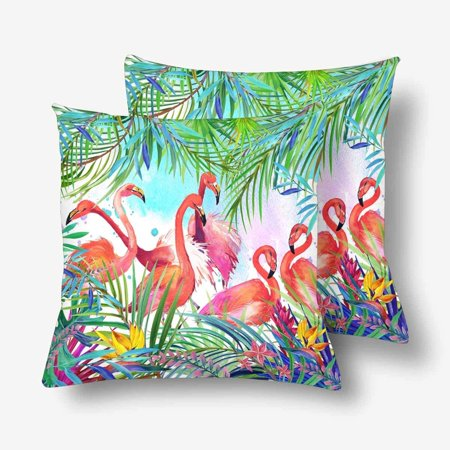 GCKG Watercolor Summer Floral Flamingo Tropical Exotic Bird Leaves Flower Throw Pillow Covers 18x18 inches Set of 2 - image 1 of 3