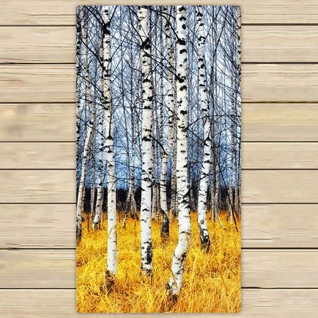 YKCG Birch Tree of Life Autumn Birch Grove among Orange Grass Hand Towel Beach Towels Bath Shower Towel Bath Wrap For Home Outdoor Travel Use 30x56 inches