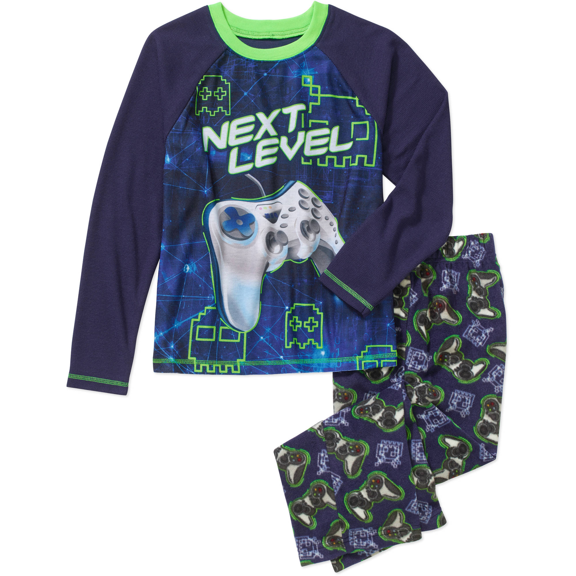 Faded Glory Boys' Thermal Top with Fleece Sleep Pants Pajama Set