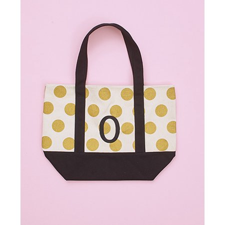Metallic Shimmer Gold Dot Monogram Embroidered Letter Totes Insert Double Handles Rigid Bottom Cotton Canvas Polyester (O) ()