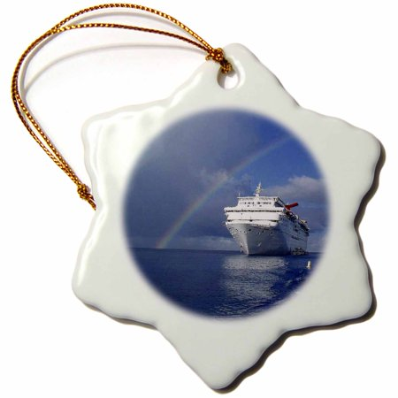 3dRose Cayman Island Rainbow on the Carnival Cruise Insperation - Snowflake Ornament, 3-inch