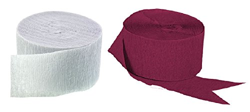 MADE IN USA! 2 Rolls Each Color BLACK and WHITE Crepe Paper Streamers