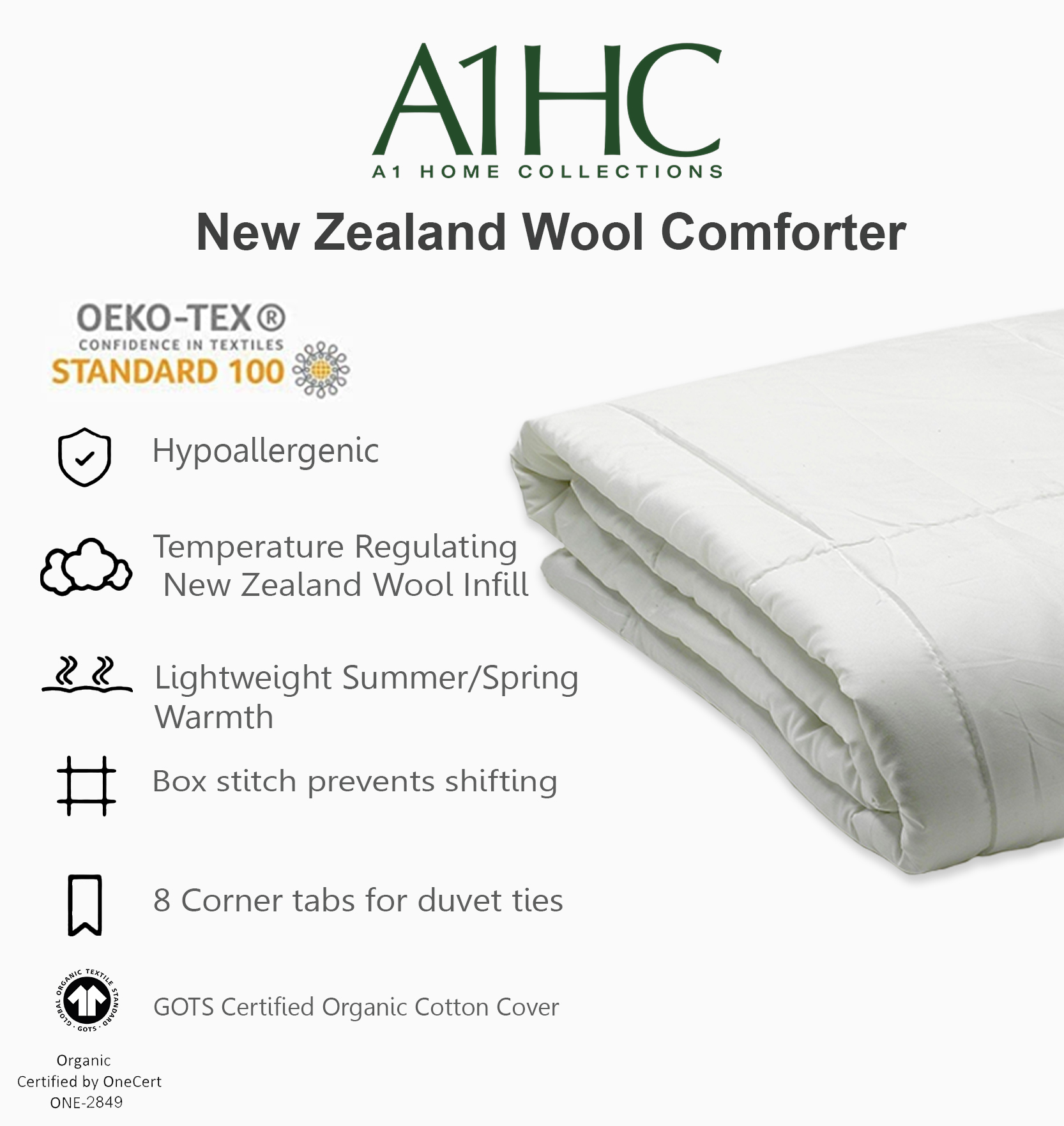 Pack of 2 duo merino wool quilt king double duvets all season all in one