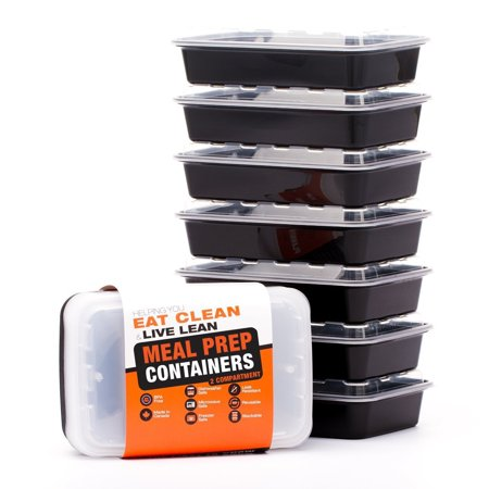 Plastic 7 (Meal Prep Containers - Food Storage Prep Containers Certified BPA-free - Portion Control, Reusable, Washable, Microwavable Plastic Containers with Lids Bento Box (7 Pack, 2 Compartment, 28)