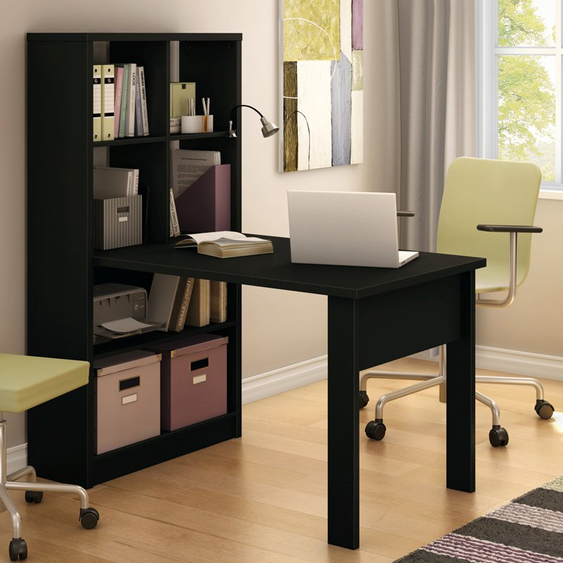 South Shore Annexe Collection Work Table with Storage Unit Pure Black by South Shore Industries Ltd