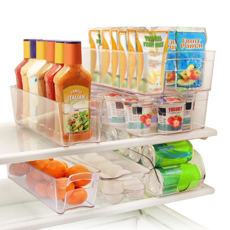 Greenco 6 Piece Refrigerator And Freezer Stackable Clear Storage Organizer Bins With Handles