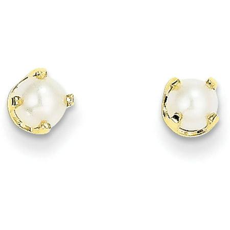Primal Gold 14 Karat Yellow Gold 4mm June Freshwater Cultured Pearl Post Earrings 14k Double Cultured Pearl Earring