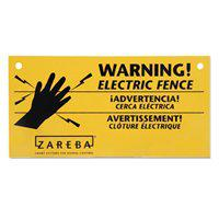 Zareba WS3 Warning Sign, Electric Fence, 8 in L x 4 in W, Black, Yellow Background Color, Polypropyl