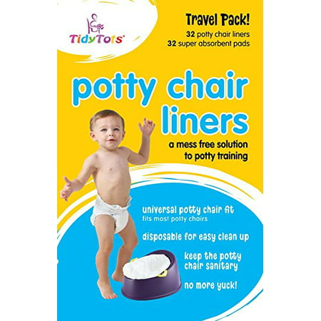 Tidy Tots Disposable Potty Chair Liners - Travel Pack XL - 32 Liners and 32 Super-Absorbent Pads,