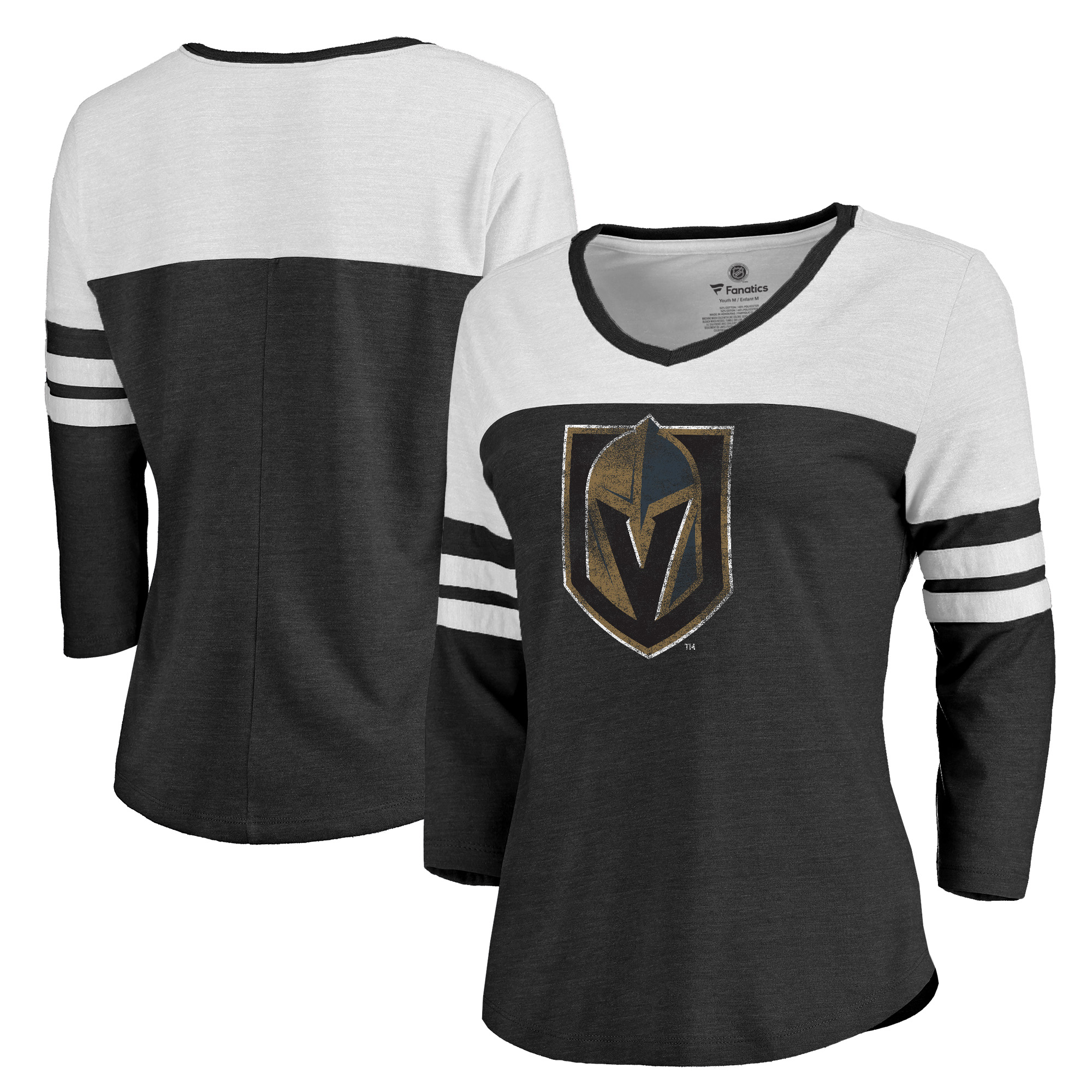 Vegas Golden Knights Fanatics Branded Women's Primary Logo Distressed 3/4-Sleeve Raglan Tri-Blend T-Shirt - Heathered Black/White