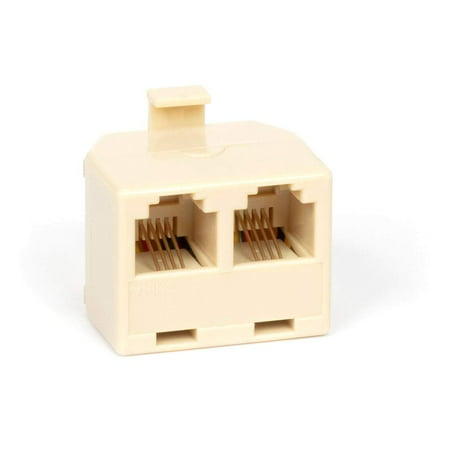 Duplex Jack Phone Wall Adapter - 2-Way Phone Splitter (Line 1&2, Line 1&2) - Wall Jack Phone RJ11 Adapter - 4 Conductor Connector (2 Phone Lines) - Ivory, 1 Pack