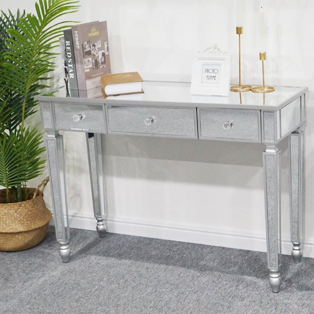 Zimtown 3 Drawer Mirrored Vanity Desk, Sofa Table Desk With Drawers