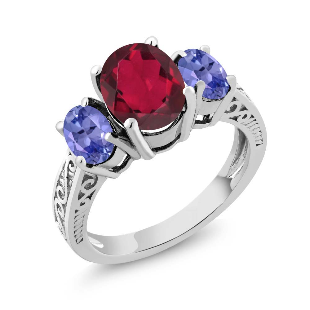 3.20 Ct Red Mystic Quartz Blue Tanzanite 925 Sterling Silver 3-Stone Ring