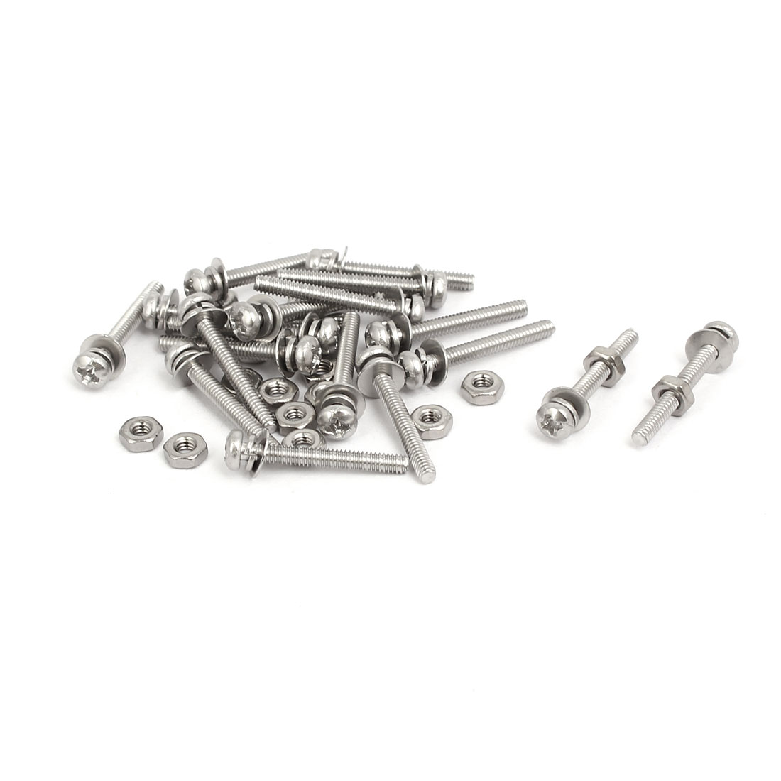 M2x16mm 304 Stainless Steel Phillips Pan Head Bolt Screw Nut w Washer 18 Sets - image 4 of 4