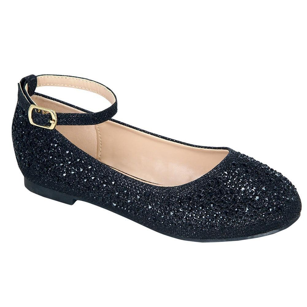 Girls Black Glittery Bejeweled Ankle