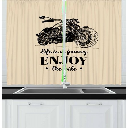Motorcycle Curtains 2 Panels Set, Monochrome Custom Chopper Design and a Motivational Quote Hand Drawn Bike, Window Drapes for Living Room Bedroom, 55W X 39L Inches, Beige and Black, by Ambesonne