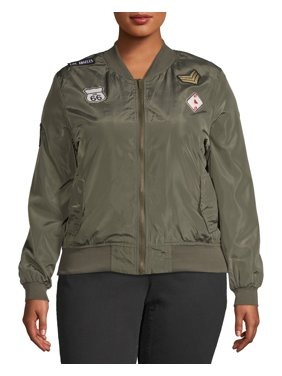 545431cfc815 Product Image Women's Plus Size Embroidered Bomber Jacket. Product Variants  Selector. Black Olive
