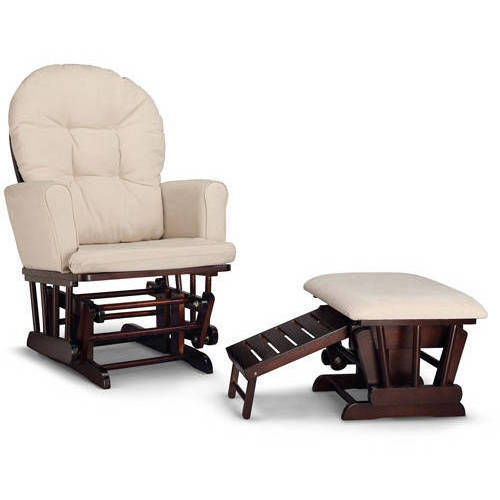 Graco Parker Semi-Upholstered Glider and Ottoman Espresso with Beige Cushions