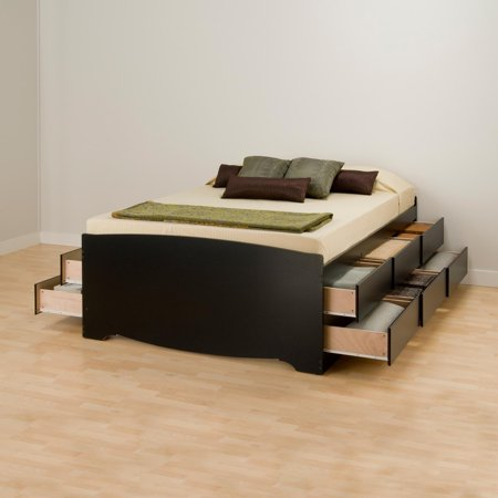 Tall Queen Captains Platform Storage Bed with 12 Drawers, Black