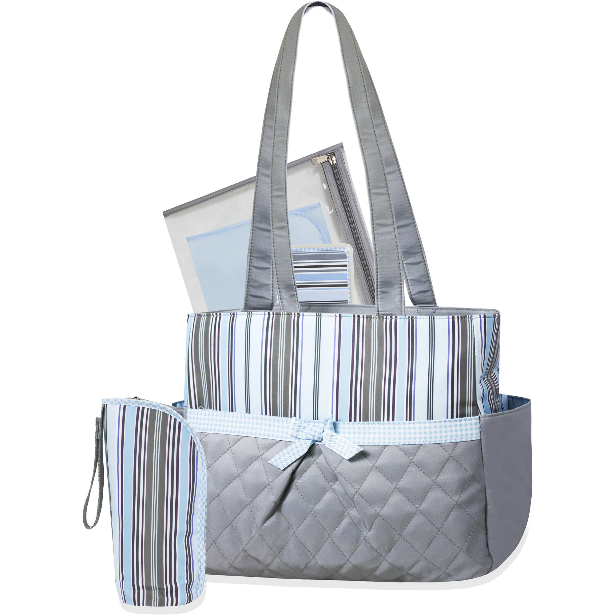 Tender Kisses Blue Striped 5-Piece Diaper Bag Set