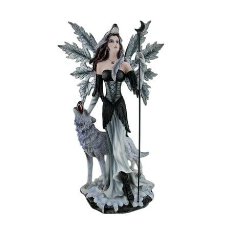 Pagan Winter Forest Fairy W/ Wolf Familiar Statue 23 Inches - Winter Fairies