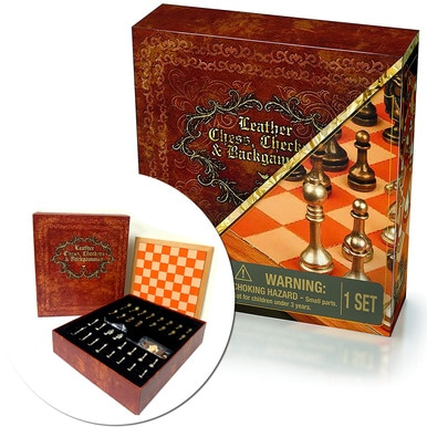 Cardinal Deluxe 3-Game Set Leather Chess Checkers & Backgammon Classic Games Gift WLM8