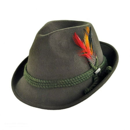 Alpine Wool Felt Fedora Hat - XL - Moss