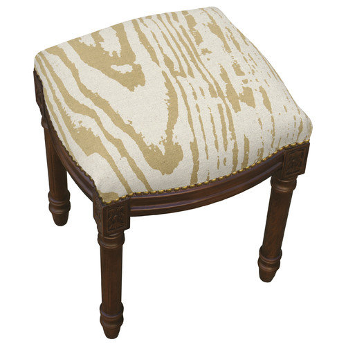 123 Creations Graphic Faux Bois Linen Upholstered Vanity Stool